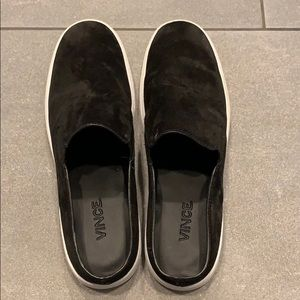 Vince suede backless slip on shoe